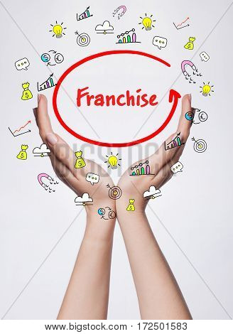 Technology, Internet, Business And Marketing. Young Business Woman Writing Word: Franchise