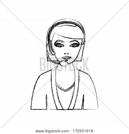 contour people woman technological services icon, vector illustration design