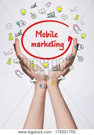 Technology, Internet, Business And Marketing. Young Business Woman Writing Word: Mobile Marketing