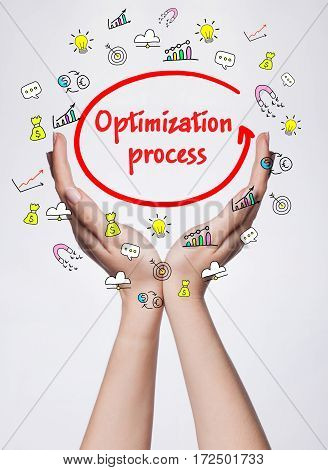 Technology, Internet, Business And Marketing. Young Business Woman Writing Word: Optimization Proces
