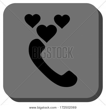 Love Phone Call toolbar button. Vector pictogram style is a flat symbol centered in a rounded square button black and gray colors.