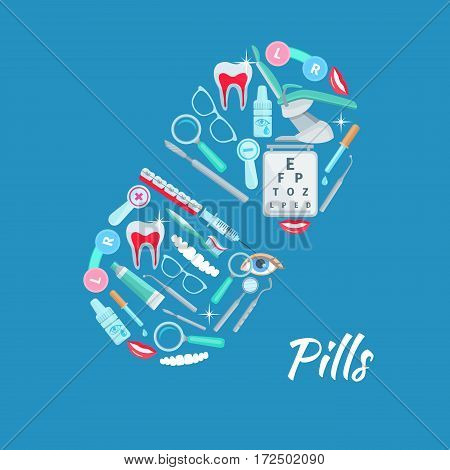 Medical poster of vector dentistry and ophthalmology healthcare medical items as dentist mirror and chair, dental braces, eye drops, scalpel and syringe, glasses lens, tooth paste and toothbrush