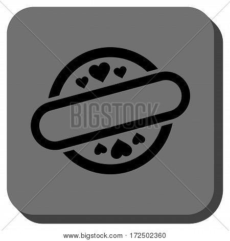 Love Stamp Seal toolbar icon. Vector pictogram style is a flat symbol inside a rounded square button black and gray colors.