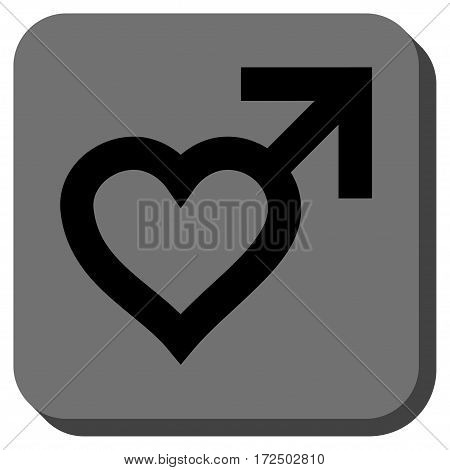 Male Heart rounded icon. Vector pictograph style is a flat symbol in a rounded square button black and gray colors.