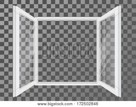 White open double plastic window with transparent and reflective glass. Vector detailed illustration.