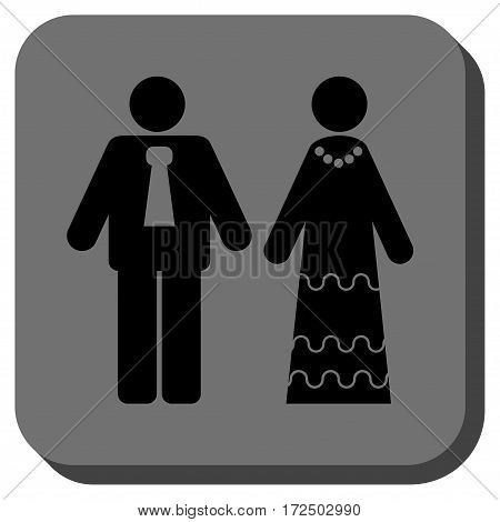 Newlyweds interface toolbar icon. Vector pictogram style is a flat symbol inside a rounded square button black and gray colors.