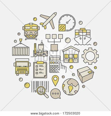 Logistics and transportation circular illustration - vector coloful logistic sign
