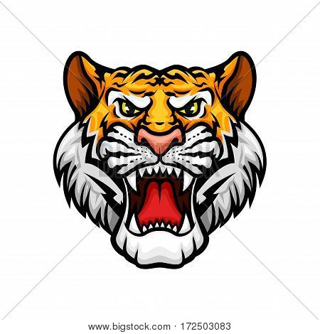 Black panther vector mascot icon. Roaring wild cat jaguar or leopard muzzle or snout with sharp canines jaw and yellow eyes. Isolated emblem for sport team, hunting adventure trip club or tattoo sign