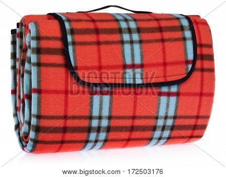 Folded Up Travel, Picnic Blanket Grille With Red, Blue, Black.