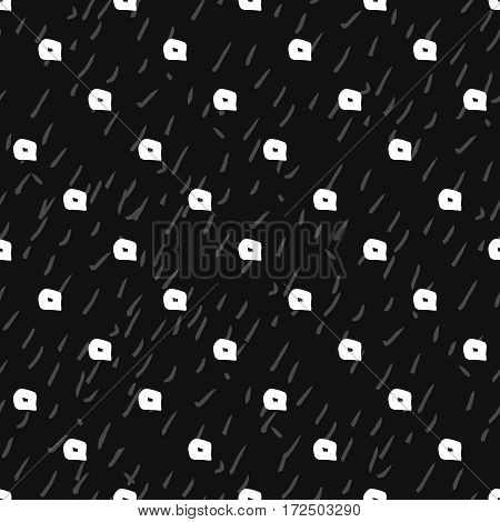 Abstract hand drawn seamless pattern. Black and white grunge dotted background.