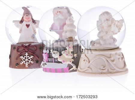 Snow Globe With Angels, Santa Claus On A Ceramic Base.