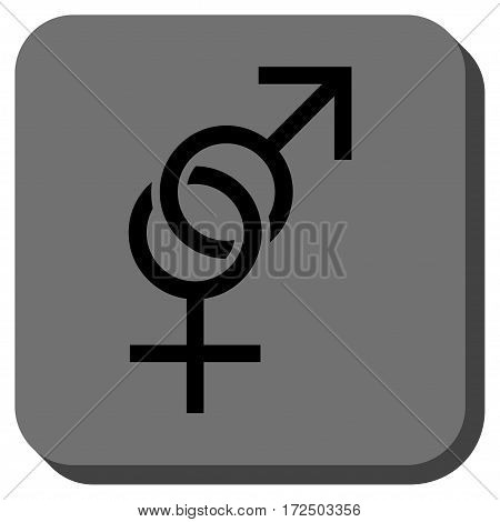Sex Symbol toolbar button. Vector pictogram style is a flat symbol inside a rounded square button black and gray colors.