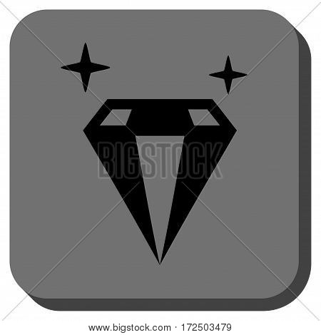 Sparkle Diamond Crystal interface toolbar button. Vector pictograph style is a flat symbol in a rounded square button black and gray colors.
