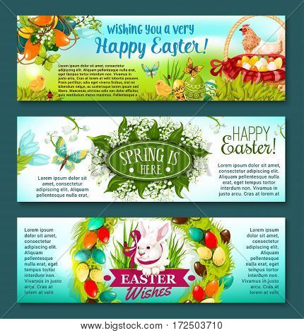 Easter spring holiday banner set. Easter egg in green grass, egg hunt basket, rabbit bunny with ribbon, chicken, chick, Easter wreath with painted eggs, flowers of lily and tulip, flying butterflies