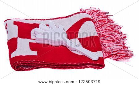 Set of gadgets Kit Polish Football Fan scarf and white handle clapping. The composition isolated on a white background.