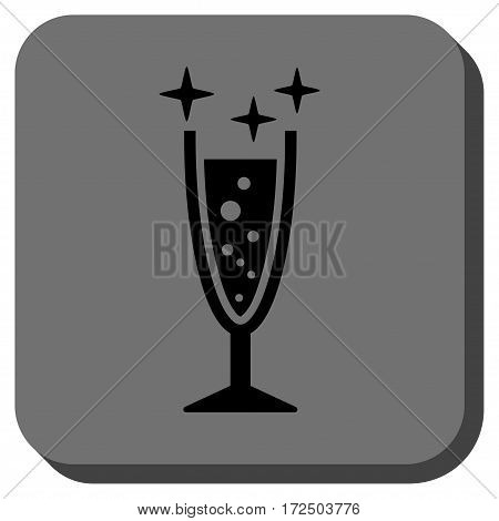 Sparkle Wine Glass rounded icon. Vector pictograph style is a flat symbol centered in a rounded square button black and gray colors.