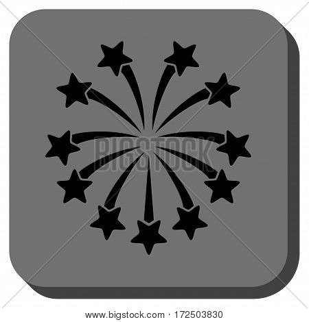 Spherical Fireworks rounded icon. Vector pictograph style is a flat symbol centered in a rounded square button black and gray colors.