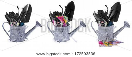 Garden Tools: Watering Can, Shears, Shoulder, Small Rake, Gloves, Seed Capsules Of Flowers.