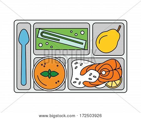Lunch on a tray: vegetable soup, fish steak with rice, pear and apple juice in a box. Line style. Vector illustration.