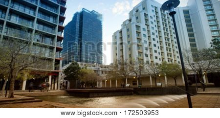 View of buildings against sky on sunny day