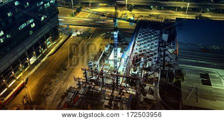 View of commercial dock at night