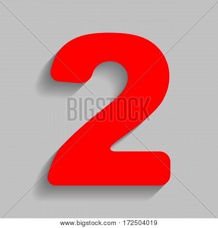 Number 2 sign design template elements. Vector. Red icon with soft shadow on gray background.