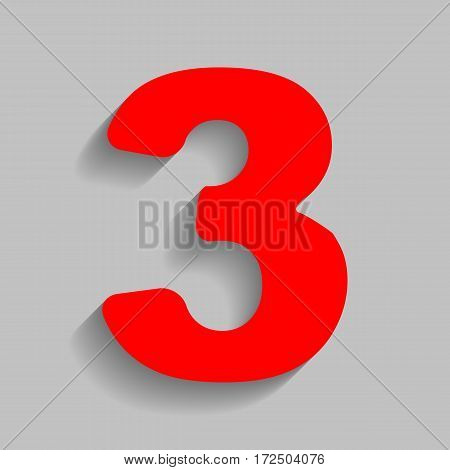 Number 3 sign design template element. Vector. Red icon with soft shadow on gray background.
