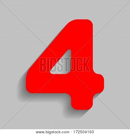 Number 4 sign design template element. Vector. Red icon with soft shadow on gray background.