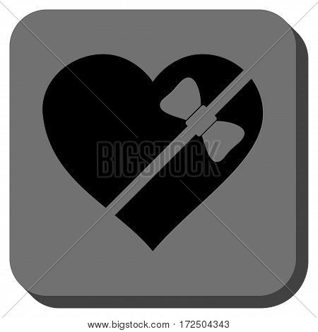 Tied Love Heart toolbar button. Vector pictograph style is a flat symbol on a rounded square button black and gray colors.