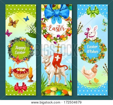 Easter spring holiday festive banner set. Decorated Easter egg on green grass, rabbit bunny, chicken, chick, lamb of God with cross, lily flower and willow tree wreath with bow, butterflies and candle