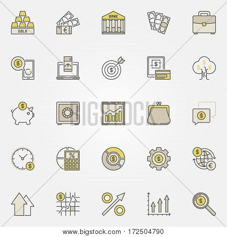 Money and investment colorful icons. Vector set of business investing creative signs