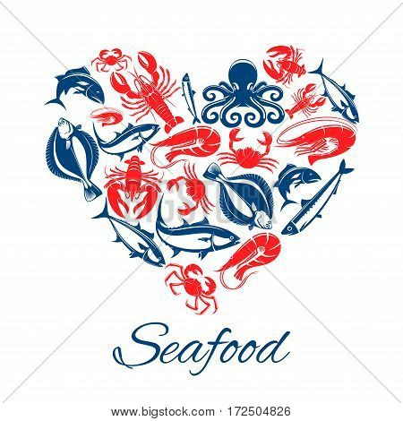 Seafood heart poster of vector fish and mollusks lobster or crab crayfish, shrimp or prawn and flounder, tuna and salmon or trout, squid, herring sprat and octopus poster