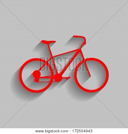 Bicycle, Bike sign. Vector. Red icon with soft shadow on gray background.