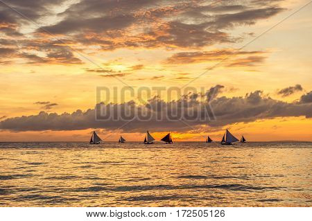 Beautiful sunset at Boracay beach at Philippines