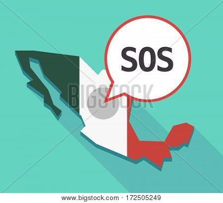 Vector Of Mexico Map With    The Text Sos