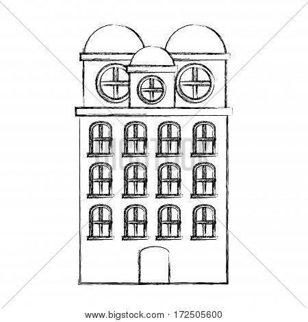 contour city building icon image, vector illustration design