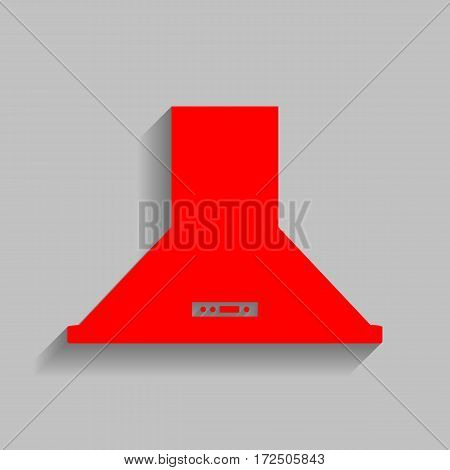 Exhaust hood. Kitchen ventilation sign. Vector. Red icon with soft shadow on gray background.