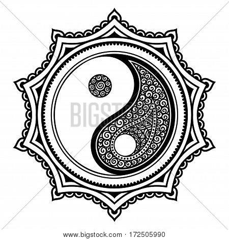 Vector henna tatoo mandala.Yin-yang decorative symbol. Mehndi style. Mehndi style. Decorative pattern in oriental style. Coloring book page.