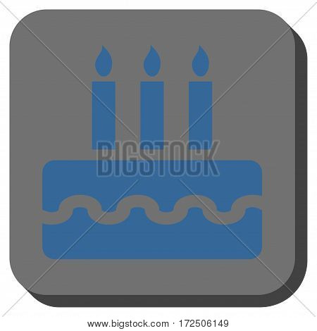Birthday Cake interface icon. Vector pictograph style is a flat symbol on a rounded square button cobalt blue and gray colors.