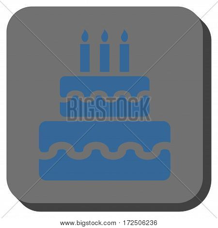 Birthday Cake square button. Vector pictogram style is a flat symbol on a rounded square button cobalt blue and gray colors.