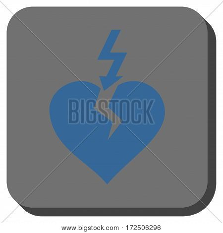 Break Heart toolbar button. Vector pictograph style is a flat symbol in a rounded square button cobalt blue and gray colors.