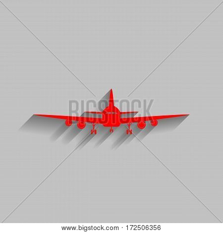 Flying Plane sign. Front view. Vector. Red icon with soft shadow on gray background.
