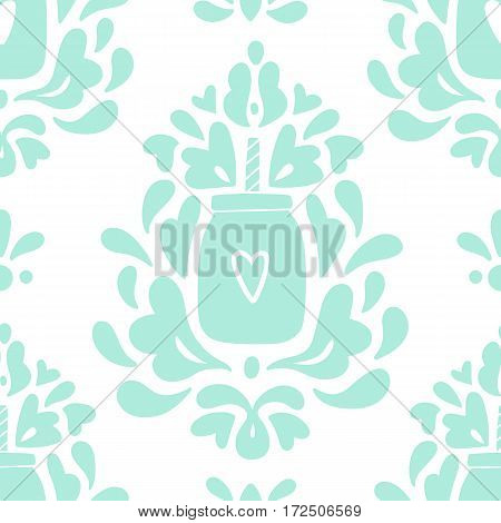 Cute smoothie jar ornament background. Vector hand drawn seamless pattern