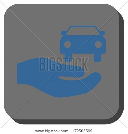 Car Gift Hand interface toolbar button. Vector pictogram style is a flat symbol inside a rounded square button cobalt blue and gray colors.