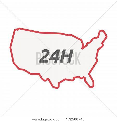 Isolated Line Art Usa Map With    The Text 24H