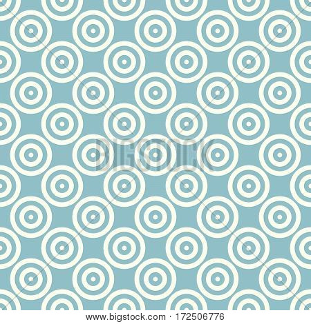 Abstract background seamless mosaic of concentric circles in diagonal arrangement on navy blue background. Retro design vector wallpaper.