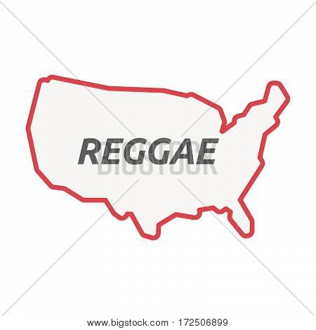 Isolated Line Art Usa Map With    The Text Reggae