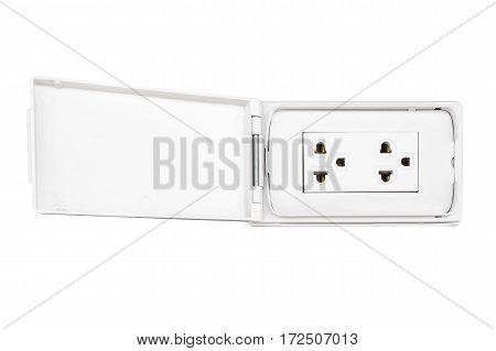 Electric plug outlet isolated on white background.