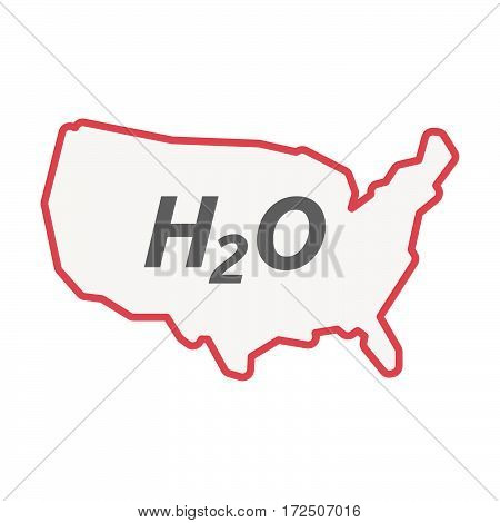 Isolated Line Art Usa Map With    The Text H2O