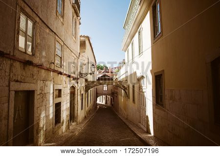Beautiful old street, the view of historic district in Lisbon, Portugal